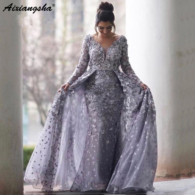 ad9bb44c07 US $130.0 |Lilac Muslim Evening Dresses 2019 Mermaid V neck Long Sleeves  Tulle Lace Islamic Dubai Saudi Arabic Long Prom Evening Gown-in Evening ...