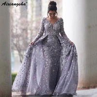 Lilac Muslim Evening Dresses 2019 Mermaid V neck Long Sleeves Tulle Lace Islamic Dubai Saudi Arabic Long Prom Evening Gown