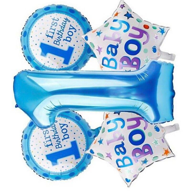 5 шт. Детские 1st воздушные шары набор розовый и голубой номер фольги Воздушные шары игрушки для мальчиков и девочек украшения для детей - Цвет: BL2