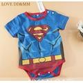 Sale 2017 New Baby Clothing Gentleman Baby Boys o-neck Short Print Superman batman One-pieces bobysuit Jumpsuit