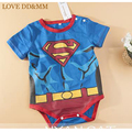 Venda 2017 new baby clothing gentleman meninos o-pescoço curto impressão superman batman one-pieces macacão bobysuit