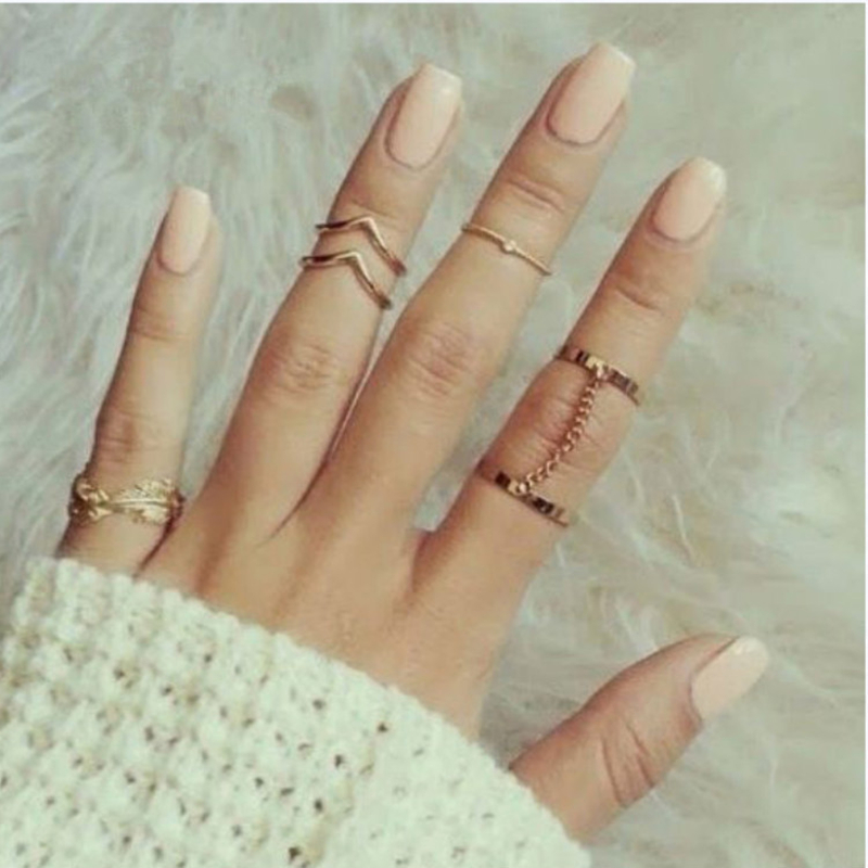 New Gold color Retro Flower Knuckle Rings For Women Vintage Geometric Pattern Crystal Ring Set Party Bohemian Jewelry 6 PCS/Set