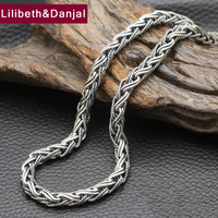 New 925 Sterling Silver Necklace Men Jewelry 7mm Wide Weave Rope Chain Pendant Necklace women Gift Fine Jewelry N4