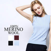 100%MERINO WOOL women solid knit VEST PULLOVERS sueter Brand RIB sweater top tunic jumper 2015 Fall Winter new