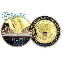 KEEP AMERICA GREAT ! Trump 2020  Presidential Campaign Slogan Trump Presidential Challenge Coin Gold Plated Commemorative Coin 40mm america president donald trump commemorative coin gold plated colorful metal coin with plastic case