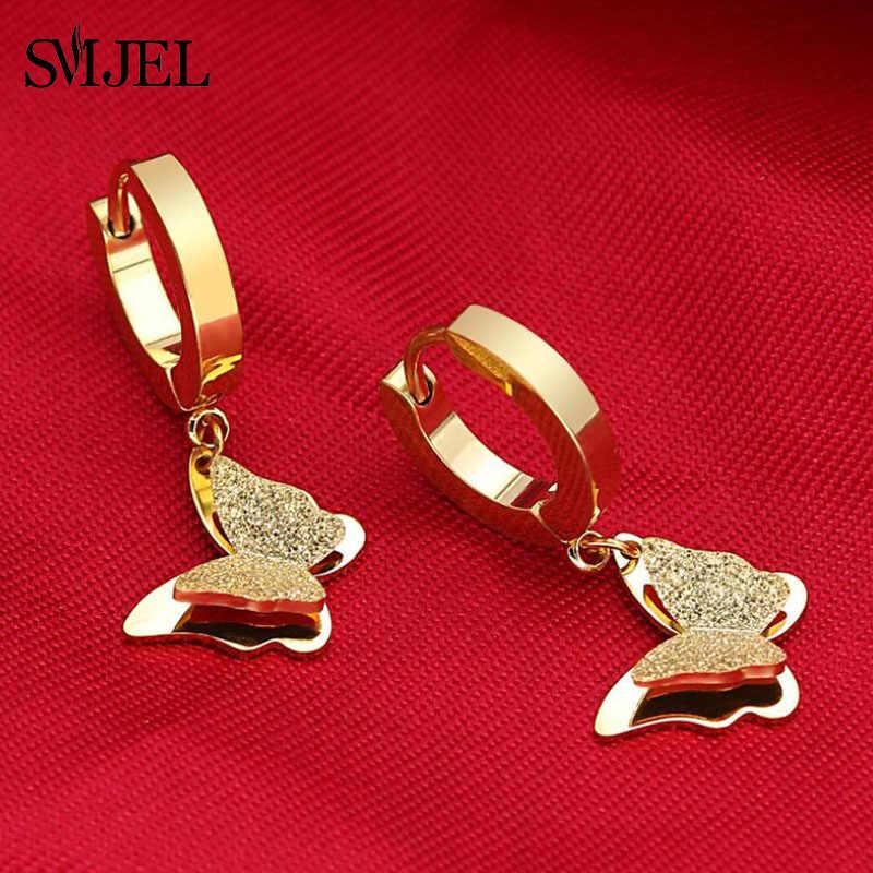 SMJEL חמוד מט כפול פרפר עגילים עלה זהב צבע נירוסטה קישור שרשרת אוזן עגילי פירסינג תכשיטי עבור נשים