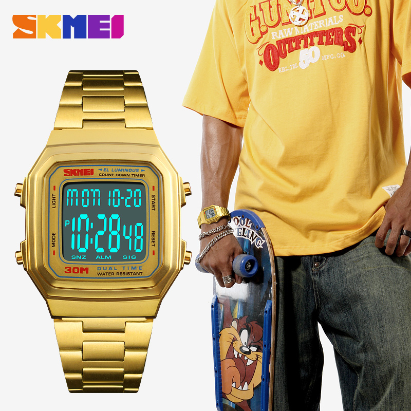 SKMEI Fashion Men Sport Digital Watches Hip Hop Stainless Steel Square Gold Waterproof Wristwatches Relogio Masculino 1337