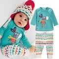 2017 muchachas del niño del bebé del muchacho camisetas de manga larga + pants 2 unids trajes set nightwear pijamas