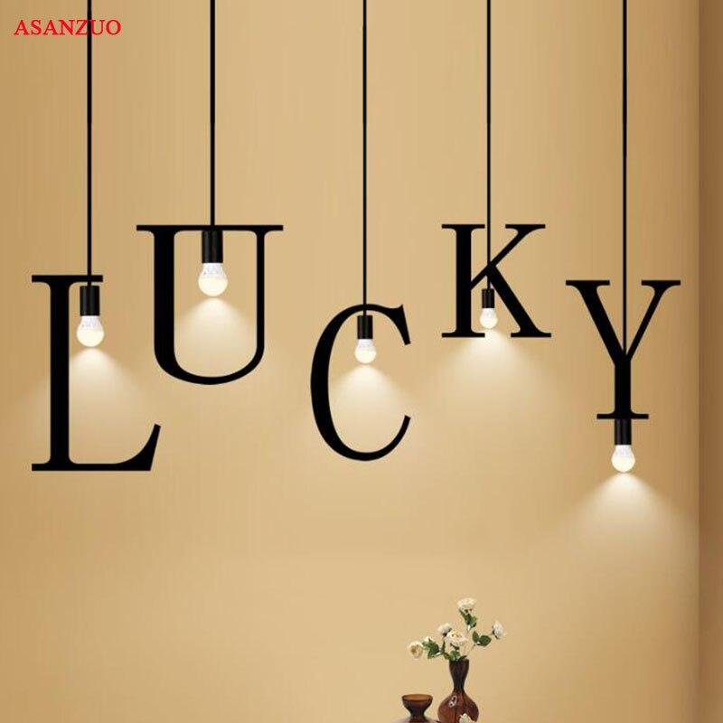 26 letters shaped Iron pendant lights Creative DIY model Word Sentence pendant lamp suspension lighting fixture