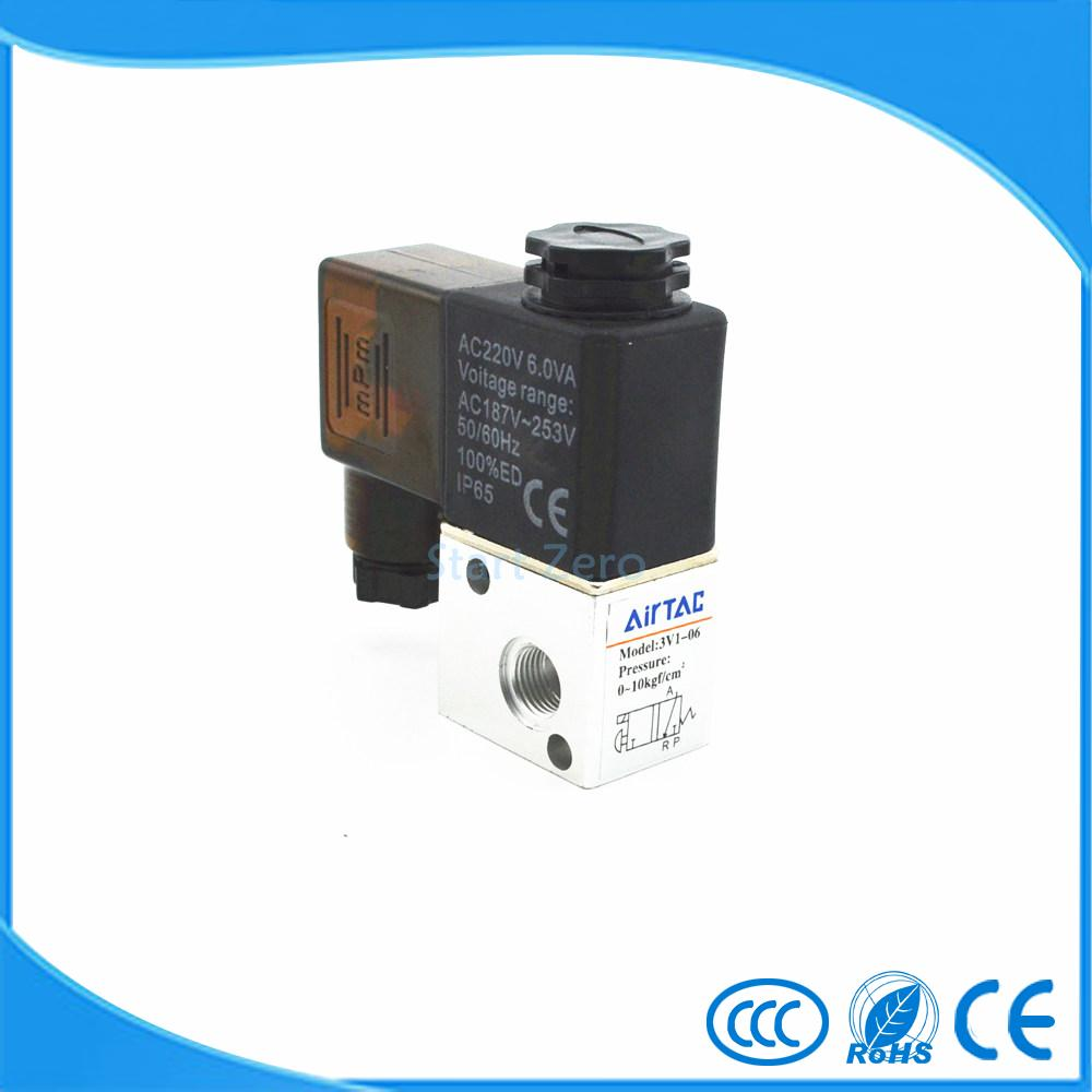 Pneumatic Air 3 Way 2 Position 1/8 AIRTAC Solenoid Valve 3V1-06 4a210 08 5 way 2 position airtac air control solenoid valve 1 4 bsp 5 2 type