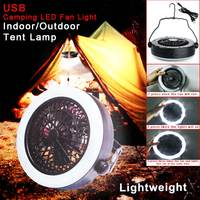 Multifunction 2 In 1 Outdoor Portable USB Rechargeable LED Fan Light Tent Lamp With Hook Camping