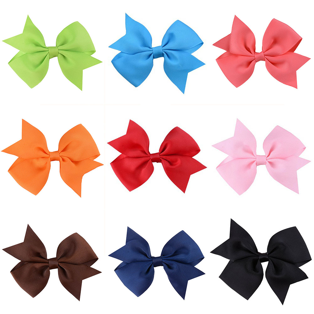 Children Ribbed Bowknot Girls Ribbon Hairpins Hair clips Colorful Barrettes  Kids Bow Knot Headwear V-shaped retro vintage women ladies girls hair clips crystal butterfly bowknot hairpins hair accessories page 7