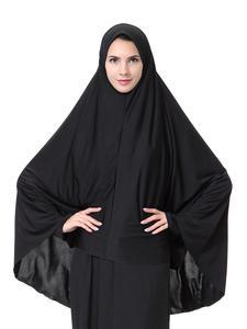 Image 5 - 女性の祈りヒジャーブ服アラブ教徒ヒジャーブ帽子イスラムオーバーヘッドスカーフのアバヤのアミラ頭頸部フルカバースカーフラップ