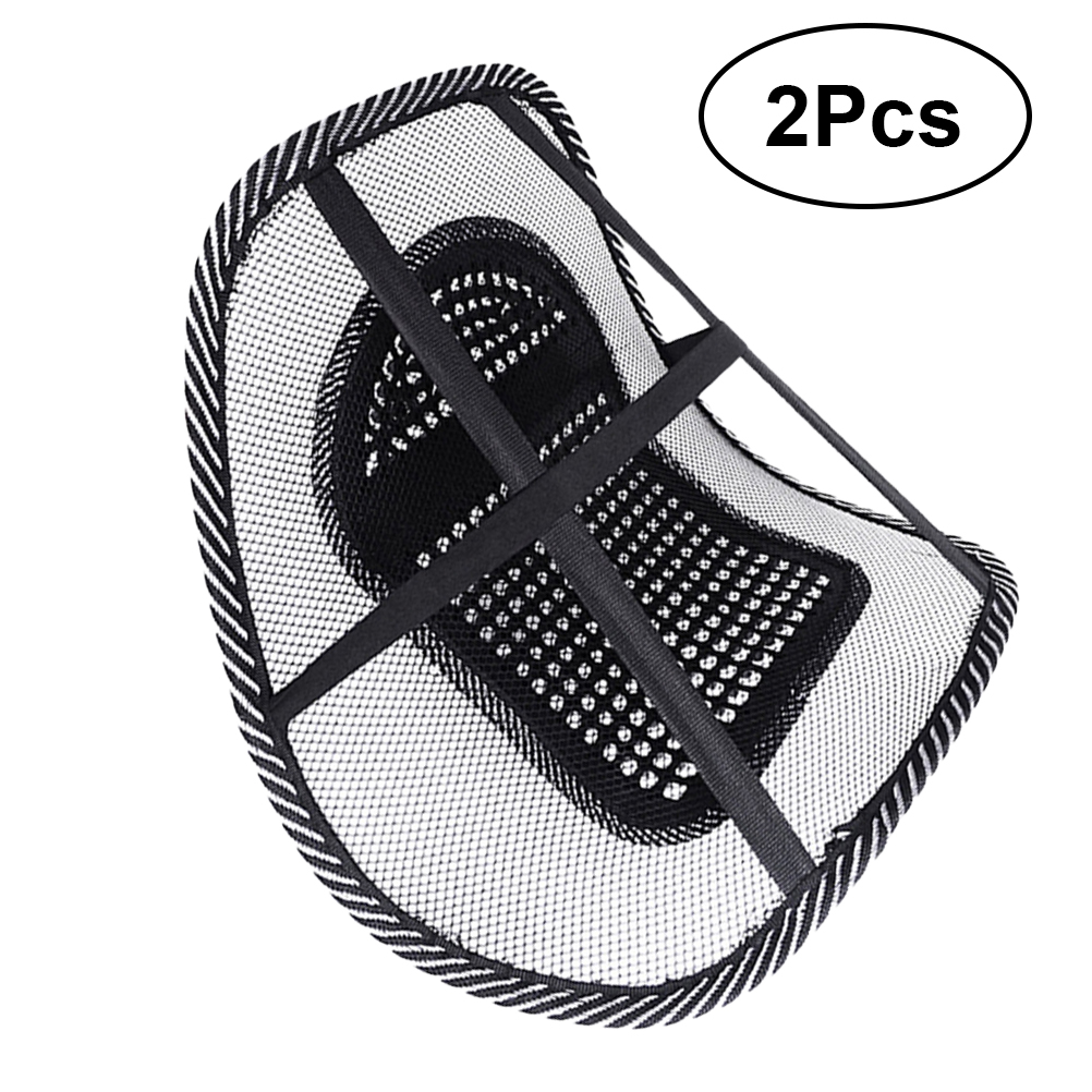 2 stücke Entspannen Auto Sitz Stuhl Zurück Lenden Taille Massage Mesh Kissen Unterstützung Pad (Schwarz)
