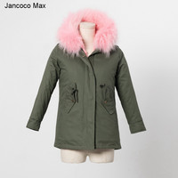 Jancoco Max 2019 Kids Coat Real Rabbit Fur Lining Raccoon Fur Collar Jacket Women Winter Warm Parka Detachable S1559
