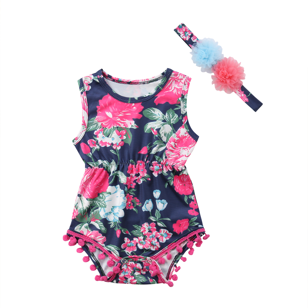 Newborn Baby Girls Floral Clothes Summer Sleeveless Romper + Lace Flower Headband Baby Girls Costumes