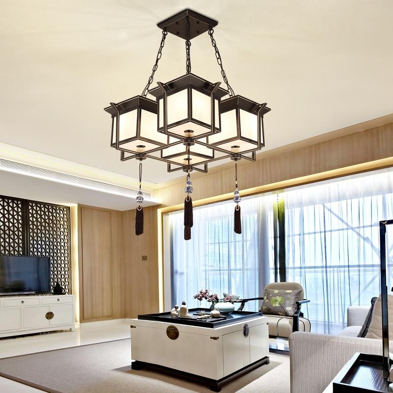 New Chinese Pendant Lights Simple Modern Retro Living Room Lamp Iron Art Study Bedroom Dining