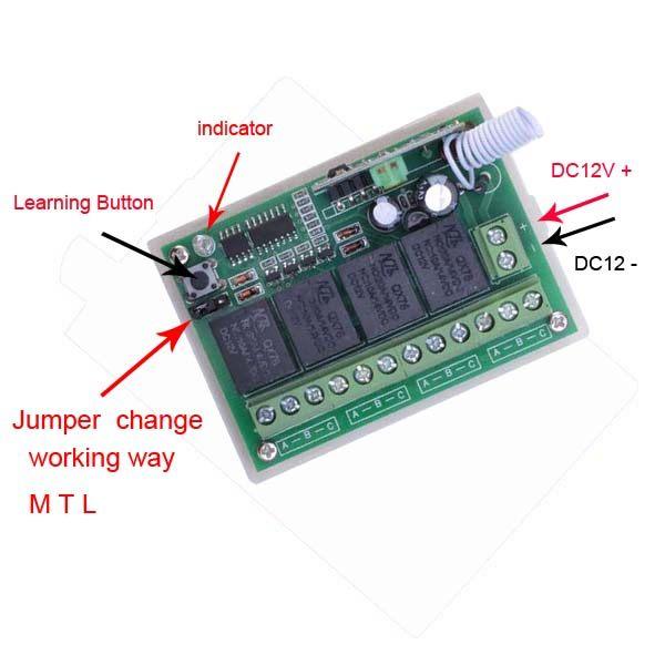 Online Shop DC12V 4channels rf wireless toggle switch 12v power ...