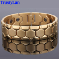 TrustyLan Gold Plated Stainless Steel Bracelet Men Jewelry Energy Health Healing Magnet Bracelets For Man Hand Band Link Chain