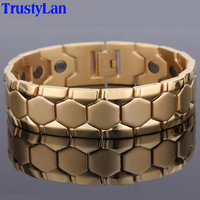 Fashion Gold Plated Stainless Steel Bracelet Jewelry Energy Health Healing Magnetic Bracelets For Man Hand Link