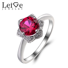 Leige Jewelry Lab Ruby Engagement Wedding Rings 925 Sterling Silver Ring Round Cut Red Gemstone July Birthstone Rings for Women