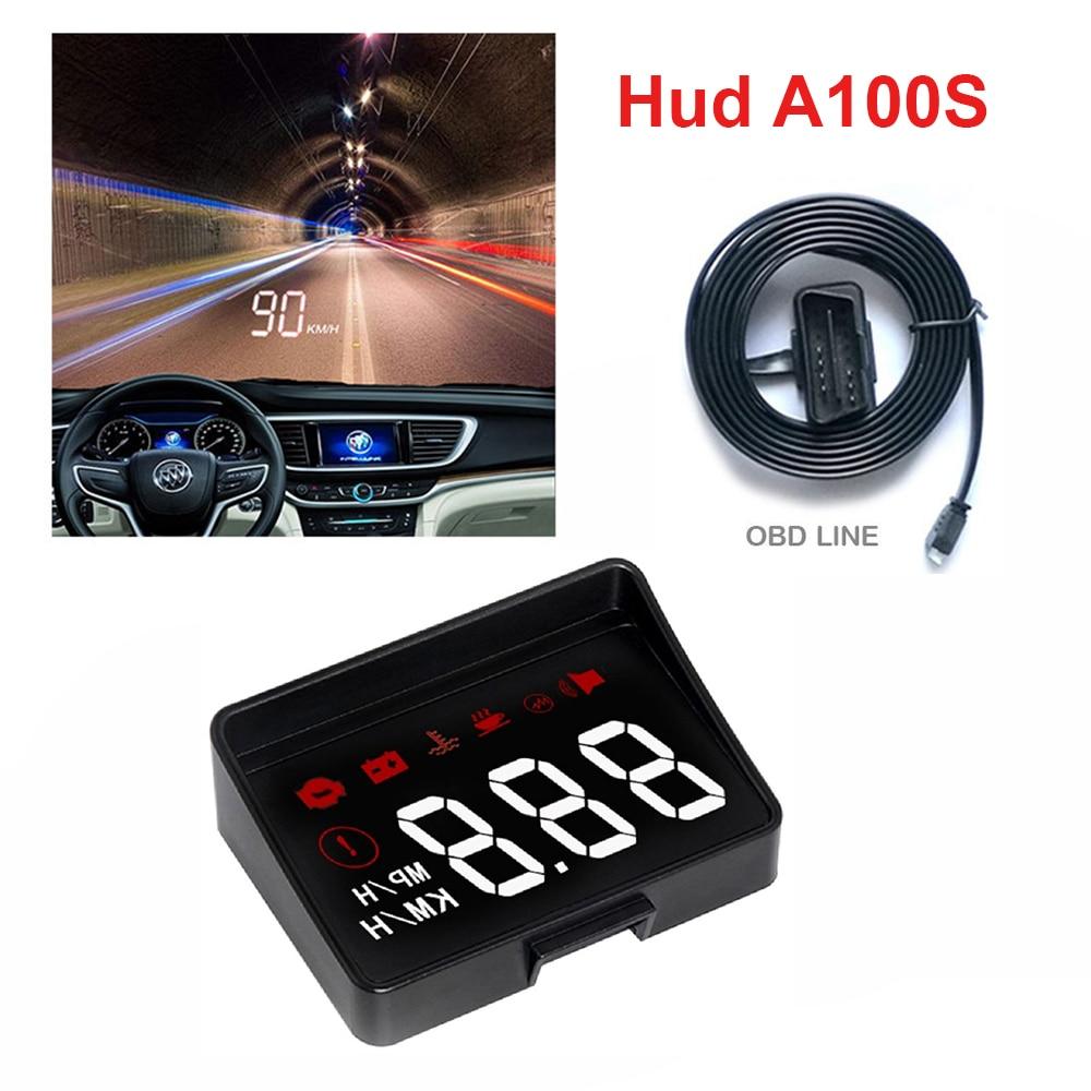 A100S coche HUD cabeza arriba pantalla nueva generación A100 OBD2 sobrevelocidad advertencia sistema proyector parabrisas Auto alarma electrónica