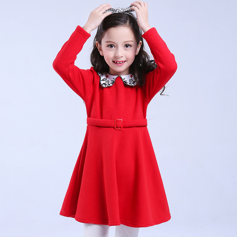 Children's Fleece Dress Spring Winter Chinese Wind Red ...