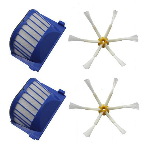 2 x Aero Vac Filter 2 x 6-Armed Side Brush For iRobot Roomba 500 600 Series 536 550 551 552 564 620 630 650 660 Vacuum Cleaning aero vac filter bristle brush flexible beater brush 3 armed side brush tool for irobot roomba 600 series 620 630 650 660