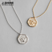 JShine Hexagon S925 Sterling Silver Clavicle Chain Rose Gold Color Delicate Bee Insect Necklace Pendants for Women Fine Jewelry