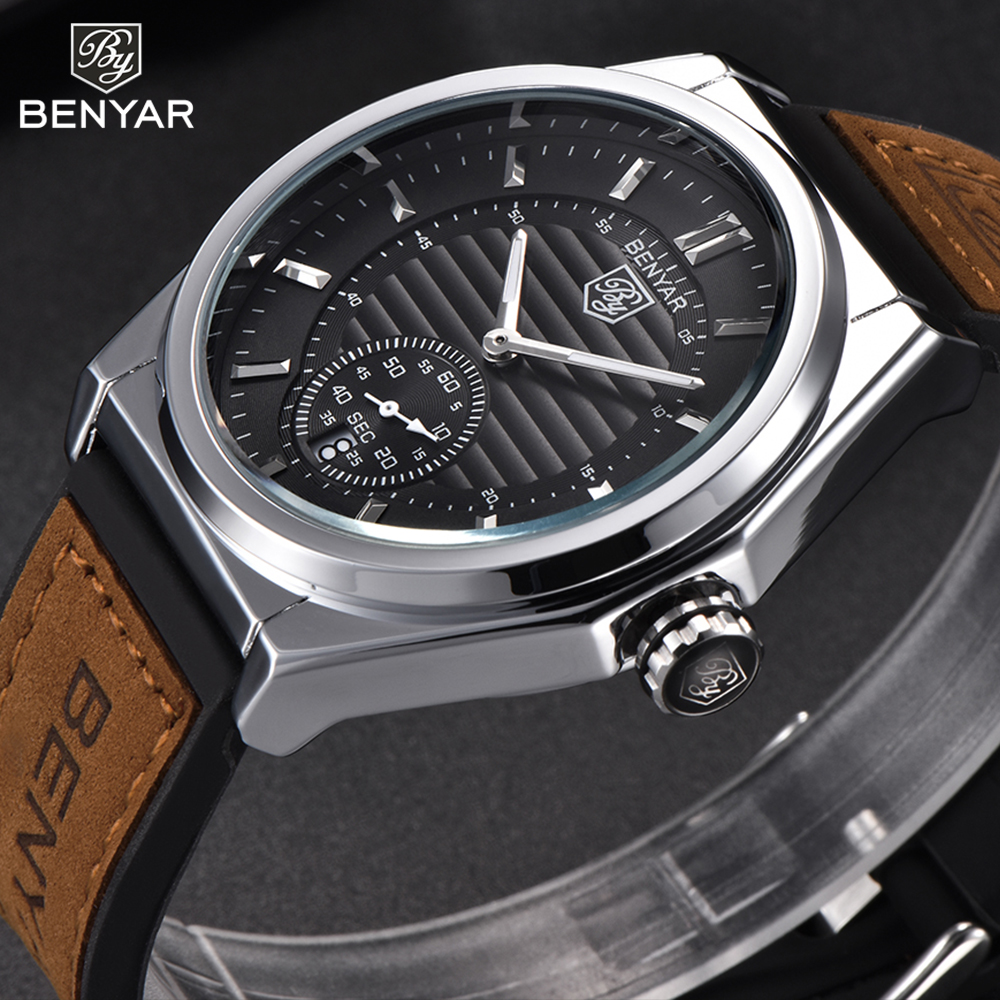 New Watches Male Unique Men Watch BENYAR Luxury Brand Sports Quartz Military Steel Leather Wrist Watch Men relogio masculino feelworld d71 dual 7 inch 3ru ips 1280 x 800 3g sdi hdmi lcd rack mount monitor portable 2 screens broadcast monitor