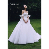 Bow Tie Sleeve Wedding Dress Vintage A Line Tulle Satin Simple Bridal Gown High Quality