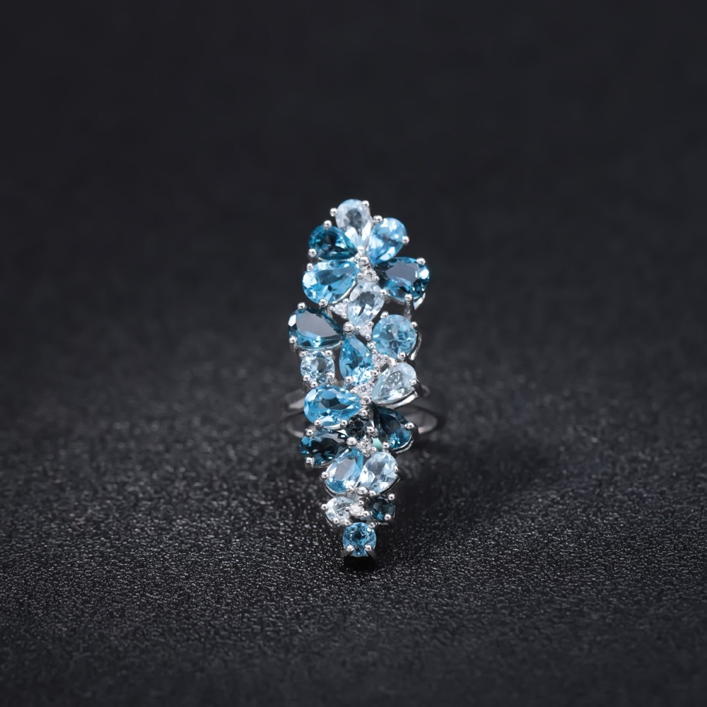 GEM'S BALLET Natural London Blue Topaz Rings Genuine 925 sterling silver Luxury Fine Costume Jewelry  Accessories For Woman