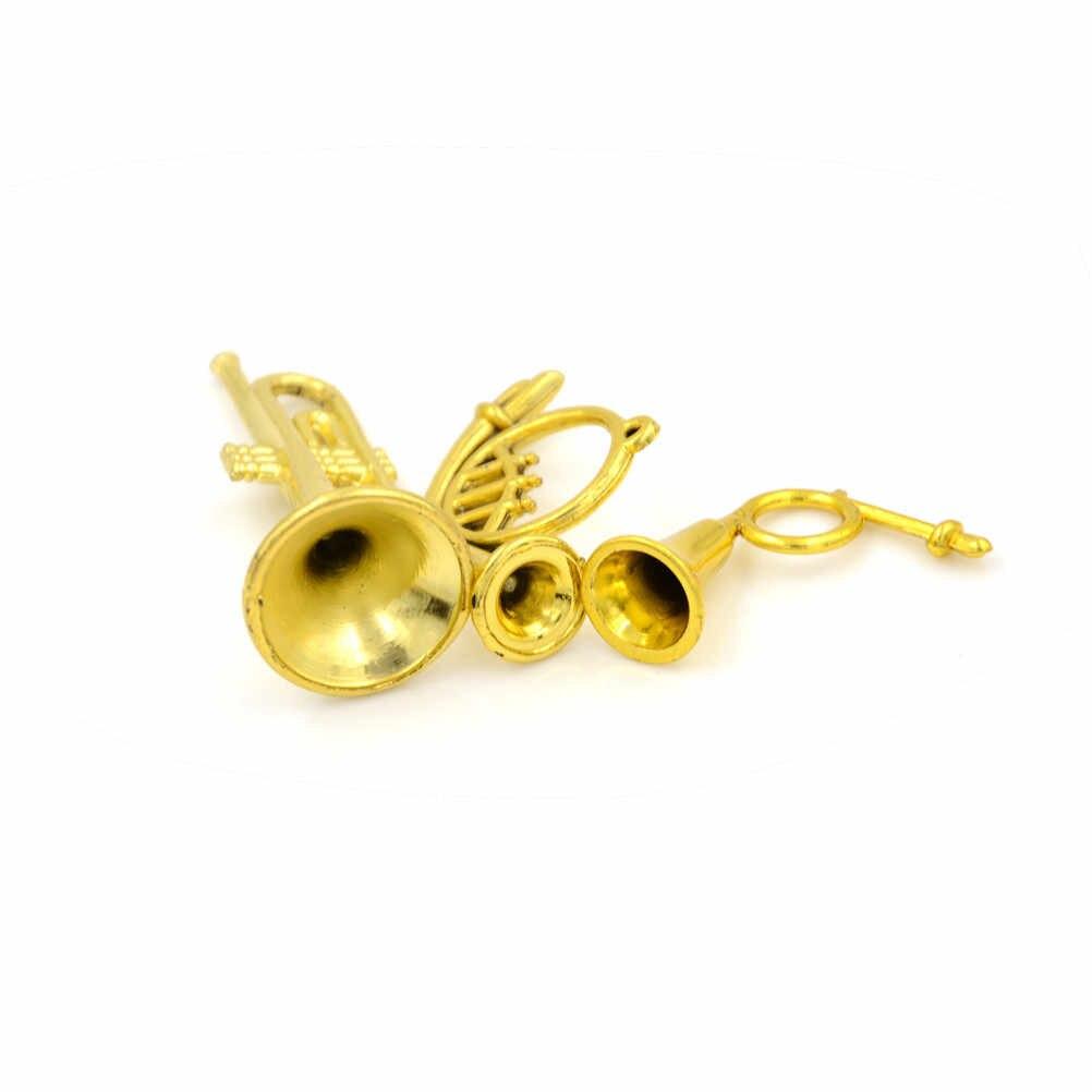 1:12 instrumento Musical niños aprendizaje regalo Color dorado casa de muñecas accesorios juguete clásico