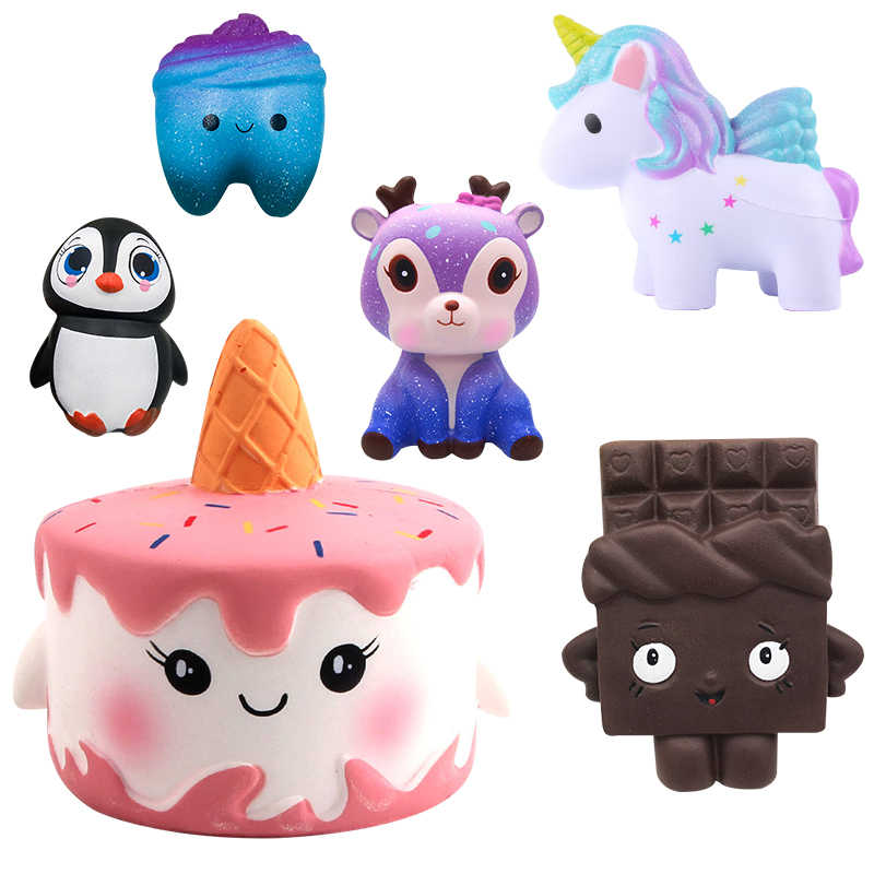 New Unicorn Wholesale Squishies Slow Rising Jumbo Kid Toys Animal Squishy Slow Rising Phone Straps Sweet Scented Bread Cake Toy