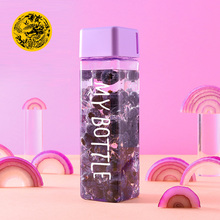 Square Plastic My bottle 500ml for Water Bottles to drink with Rope Tr