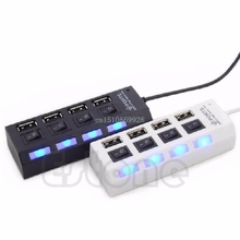 Multi Expansion 4 Ports USB 2.0 Power On/Off Switch LED Hub F PC Laptop Notebook