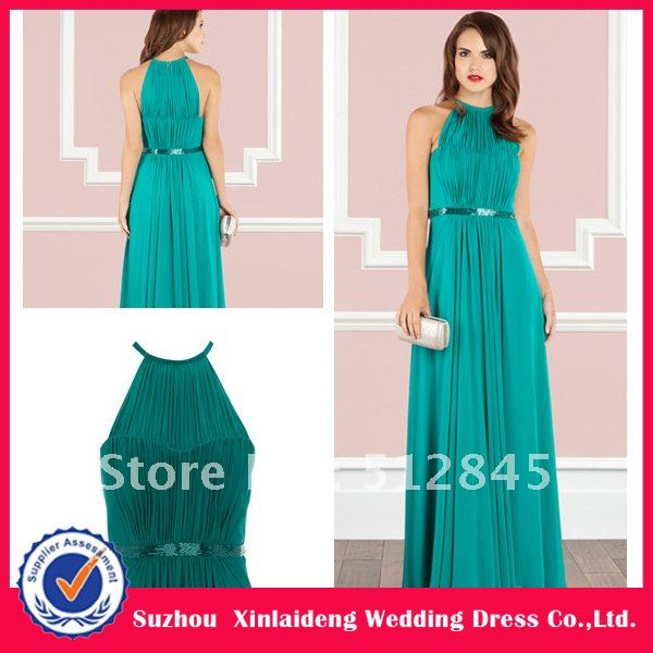 Yd 12061183 Vest Neck Jade Colored Maxi Long Bridesmaid Dress