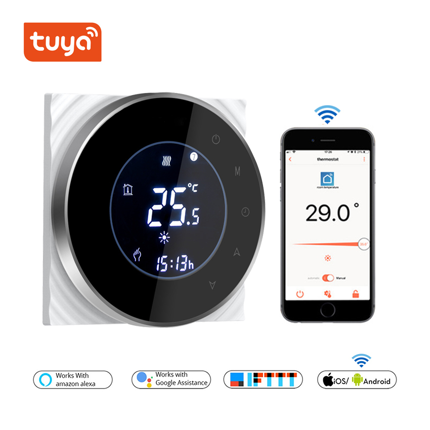 WiFi Thermostat for Gas Boiler Floor Heating Smart Temperature Controller 3A with 5+2 Six Periods Programmable Function TUYA APP