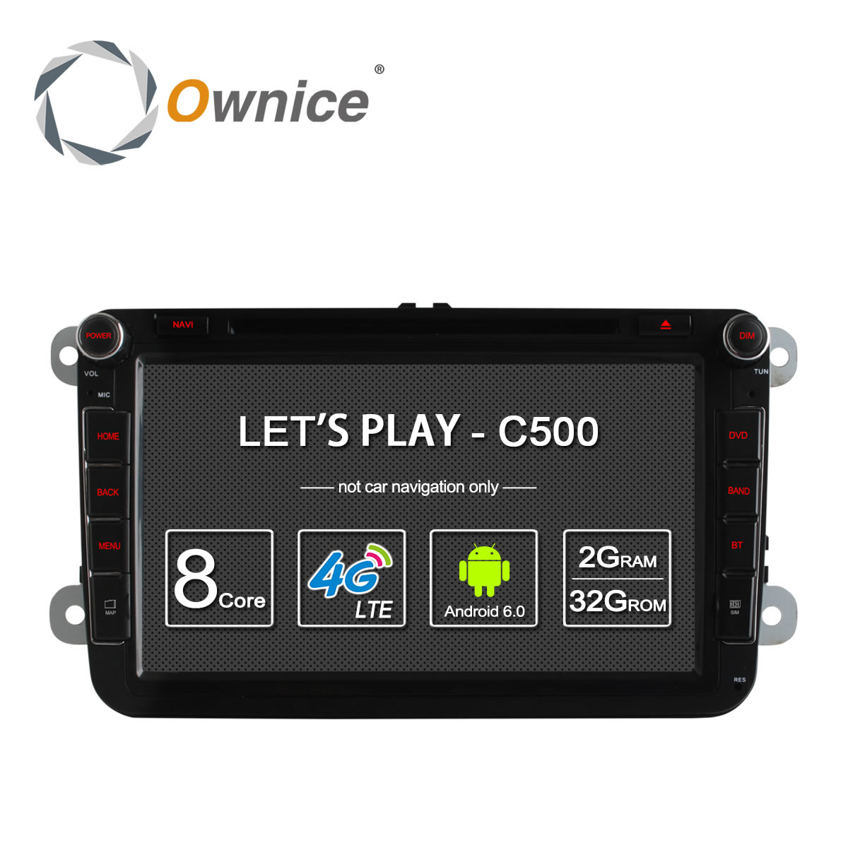 4G SIM LTE Red Ownice K1 K2 Octa 8 Core Android 8.1 2G RAM 2 Din Car DVD GPS Navi Radio Player Para VW Skoda Octavia 2