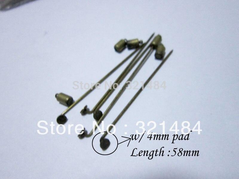 antique bronze 58mm hijab pins w/ 4mm pad and backs muslim straight stick pin islamic scarf safety hijab khaleeji fixed pins
