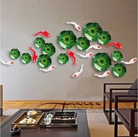 Background wall creative home decoration living room wall stickers wall hanging fish lotus leaf wall