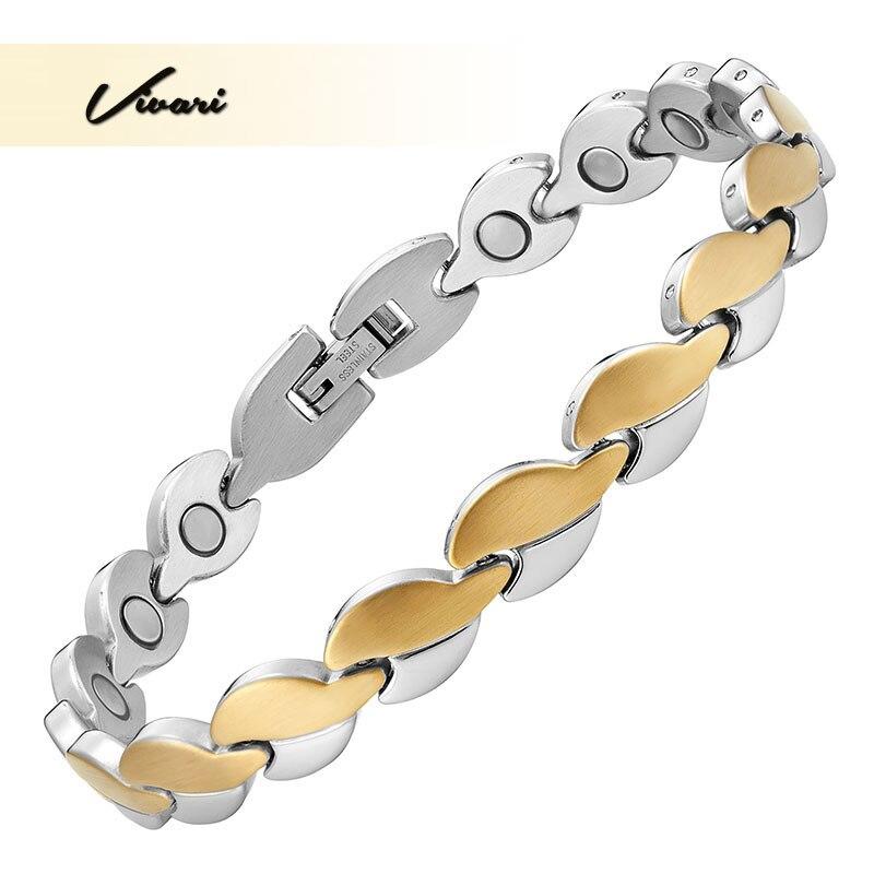 Vivari 2017 сердце дамы Нержавеющаясталь браслет для Для женщин 2-тон Ионные Покрытие Магнитная Модные Браслет Шарм био ювелирных изделий