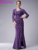 Purple Long Mermaid Chiffon Formal Dresses For Mother of Bride With Jacket Beaded Ruched Split Ruffles Mother Of The Bride Dress