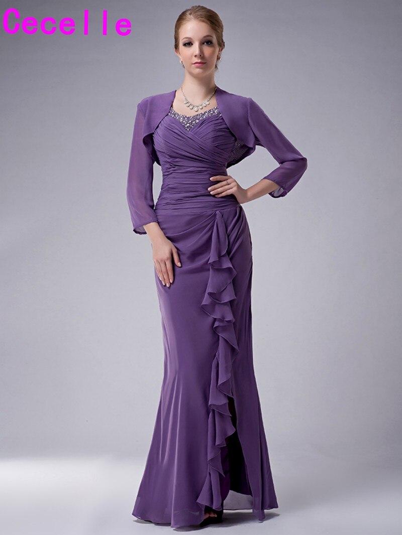 Robes formelles en mousseline de soie longue sirène pourpre pour mère de mariée avec veste perlée froncée fendue volants mère de la robe de mariée