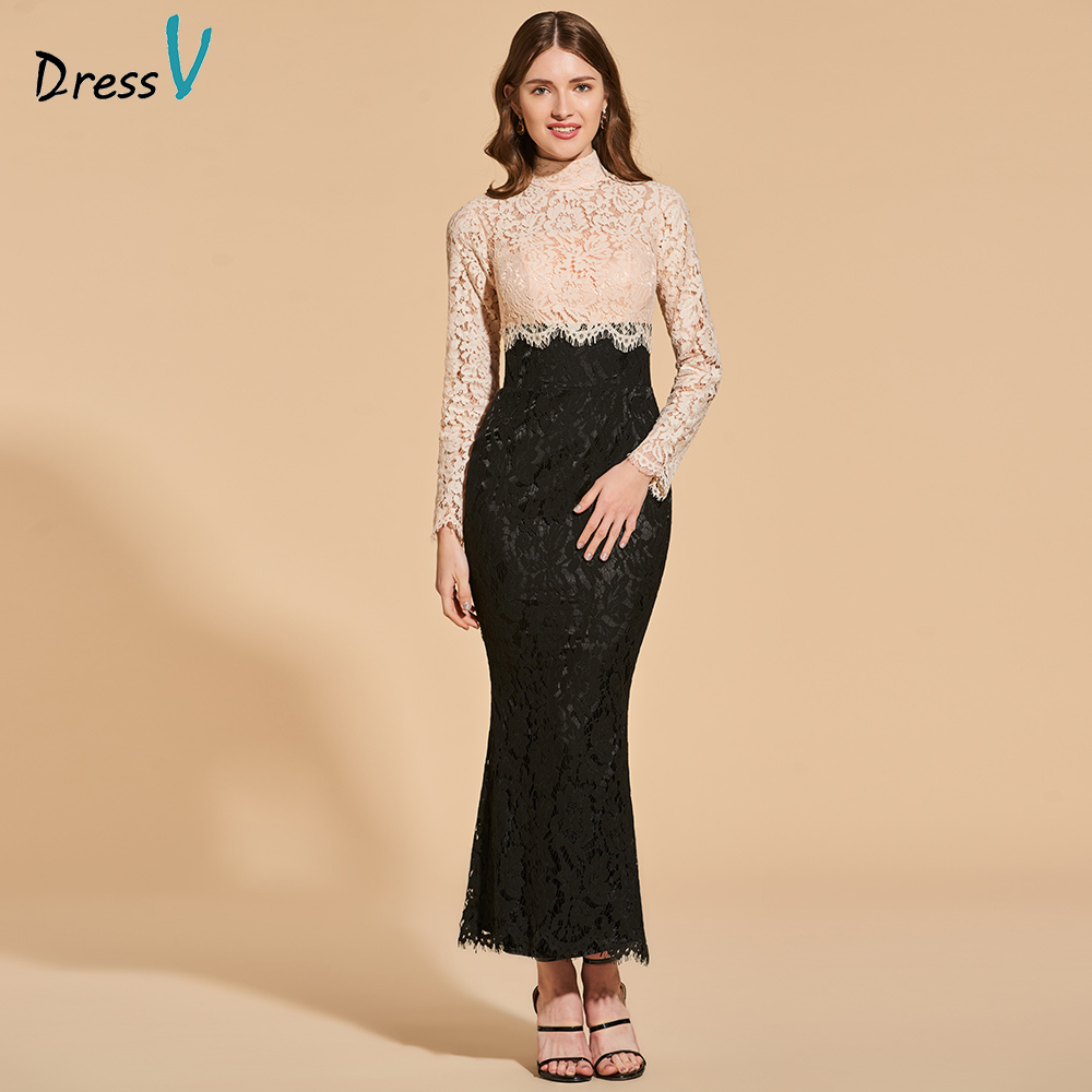 Dressv Cocktail Dress Elegant High Neck Ankle Length Button Mermaid Appliques Lace Wedding Party Formal Dress Cocktail Dresses