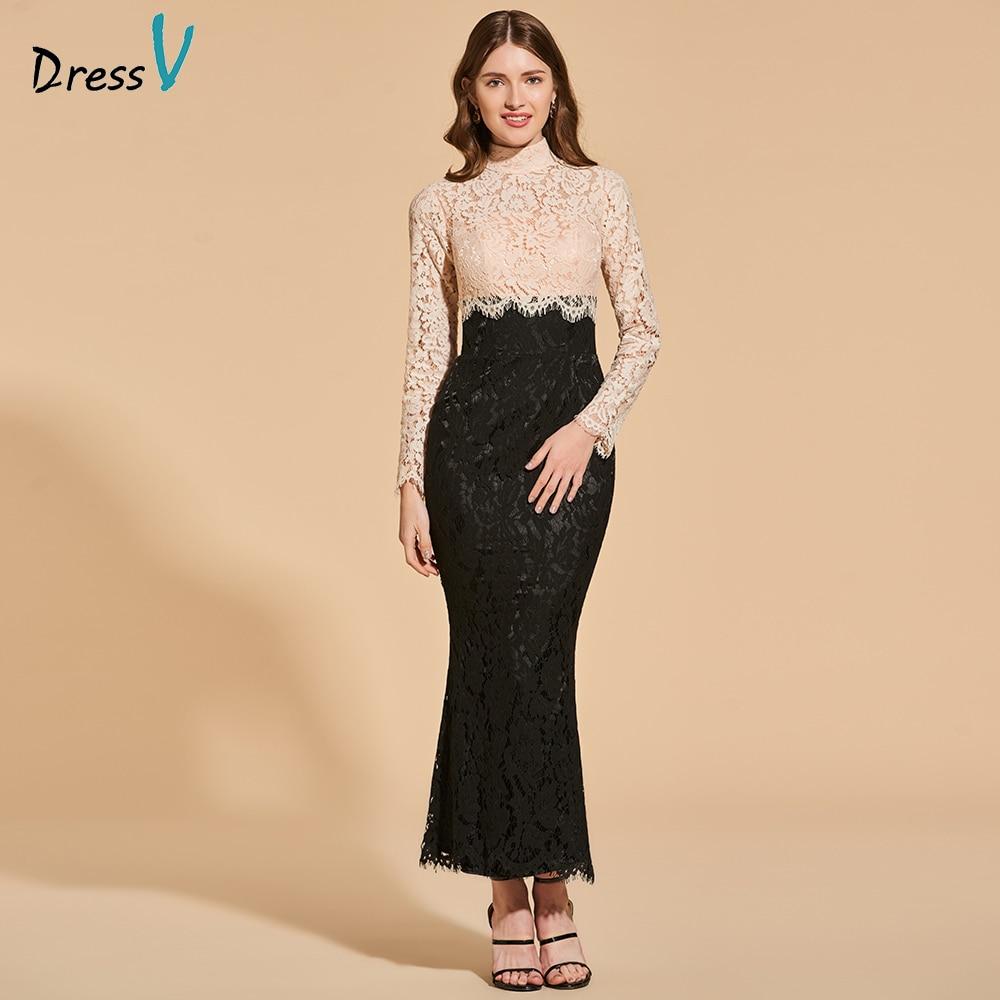Dressv cocktail dress elegant high neck ankle length button mermaid appliques lace wedding party formal dress cocktail dresses
