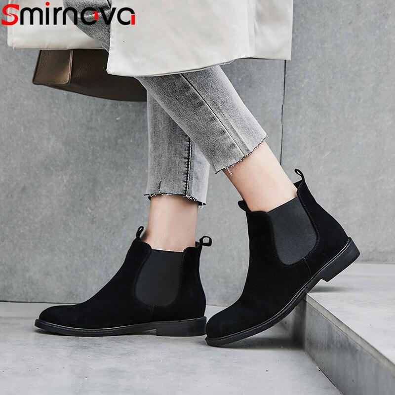 Smirnova สีดำแฟชั่นฤดูใบไม้ร่วงฤดูหนาวรองเท้าผู้หญิงรอบ toe ส้นหนังแท้รองเท้าสบายๆขนาดใหญ่ข้อเท้า-ใน รองเท้าบูทหุ้มข้อ จาก รองเท้า บน   1