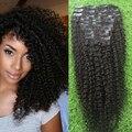 Grampo na Extensão Do Cabelo Humano peruano afro Kinky Curly Natural clipe em preto O Real Natural Peruana da extensão do cabelo Clipe Ins cabelo