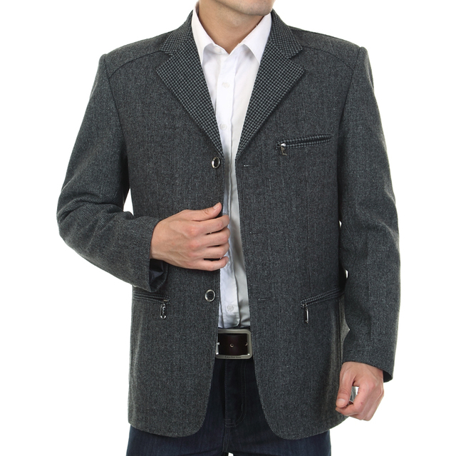 WAEOLSA Men Gray Blazers Fashion Tweed Blend Suit Jackets Man Casual Blazer Male Garment Chinese Apparel With Pockets Outerwear