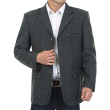 WAEOLSA Men Gray Blazers Fashion Tweed Blend Suit Jackets Man Casual Blazer Male Garment Chinese Apparel With Pockets Outerwear